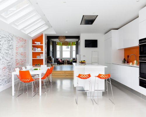 Kitchen Ideas Inspiration With Orange Splashback