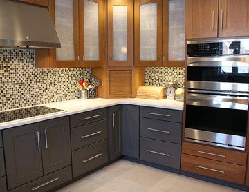 Contemporary Kitchen Featuring Black Base Cabinets