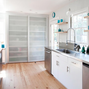 Inspiration for a contemporary kitchen remodel in Other with an integrated sink, stainless steel countertops, flat-panel cabinets, white cabinets, metallic backsplash, metal backsplash and stainless steel appliances