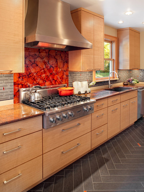 Kitchen Contemporary Gray Floor Idea In Portland With Stainless Steel Liances An Undermount