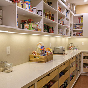 Mid-sized contemporary l-shaped kitchen pantry in San Diego with beige splashback, cork floors, open cabinets and quartz benchtops.