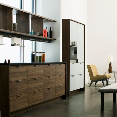 Example of a trendy single-wall kitchen design in New York