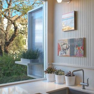 Неиссякаемый источник вдохновения для домашнего уюта: кухня в современном стиле с одинарной раковиной и столешницей из кварцевого агломерата
