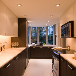 Example of a trendy galley enclosed kitchen design in Vancouver with a double-bowl sink, flat-panel cabinets and white cabinets
