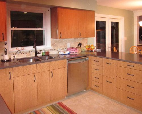 Orange kitchen design ideas renovations photos with for Anigre kitchen cabinets