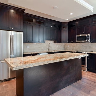 Large Trendy L Shaped Light Wood Floor Eat In Kitchen Photo In Vancouver  With. Save Photo. Contemporary Kitchen Island ...