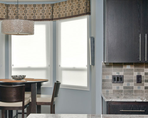 Trendy Eat In Kitchen Photo In Other With Granite Countertops, Flat Panel  Cabinets
