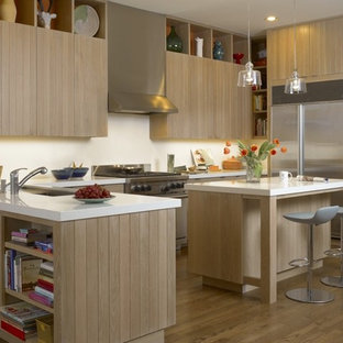 Inspiration For A Contemporary Kitchen Remodel In San Francisco With Flat Panel Cabinets Light