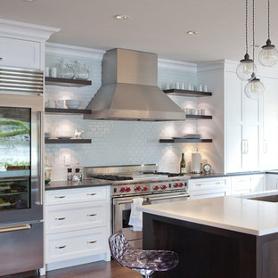 Example of a trendy kitchen design in Portland with stainless steel appliances