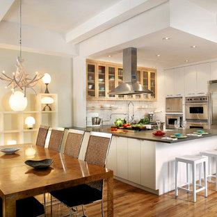 Esempio di una cucina design con ante di vetro, ante in legno chiaro, elettrodomestici in acciaio inossidabile, parquet chiaro e penisola