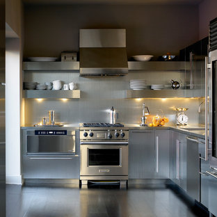 Trendy kitchen photo in Chicago with stainless steel appliances, stainless steel countertops, flat-panel cabinets, stainless steel cabinets, metallic backsplash and metal backsplash