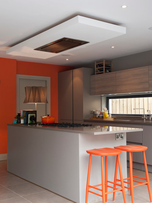 Inspiration For A Contemporary Kitchen Remodel In Other With Flat Panel  Cabinets And Gray Cabinets