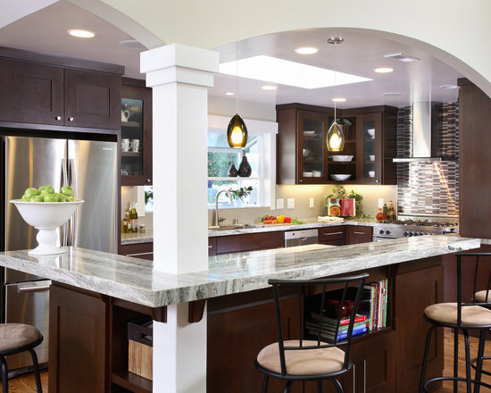 Kitchen Island With Columns white macaubas quartzite kitchen traditional with ceiling flush