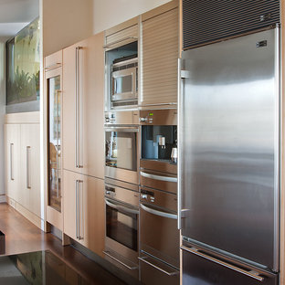 Kitchen - contemporary kitchen idea in San Francisco with stainless steel appliances, flat-panel cabinets and light wood cabinets