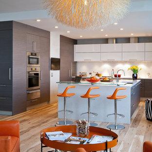 サンフランシスコのコンテンポラリースタイルのおしゃれなキッチン (フラットパネル扉のキャビネット、グレーのキャビネット、ガラスカウンター、白いキッチンパネル、シルバーの調理設備) の写真