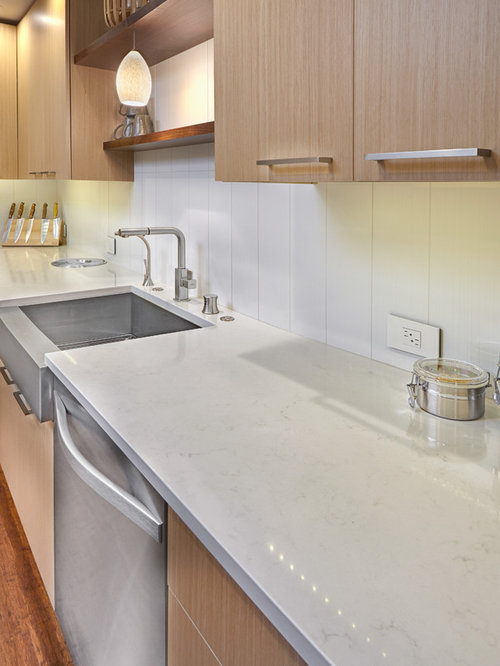 Caesarstone frosty carrina houzz - Caesarstone sink kitchen ...