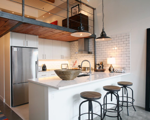 example of a trendy u shaped kitchen design in vancouver with subway tile backsplash - Kitchen Table Lamps