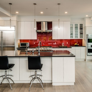 Contemporary eat-in kitchen pictures - Example of a trendy light wood floor and beige floor eat-in kitchen design in Other with an undermount sink, flat-panel cabinets, red backsplash, glass sheet backsplash and stainless steel appliances