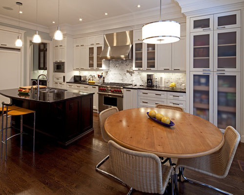 Example Of A Trendy Kitchen Design In Toronto With Stainless Steel Appliances A Double