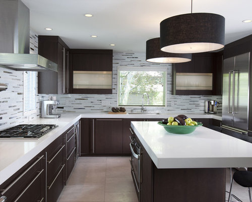 Contemporary U Shaped Kitchen Idea In New York With Matchstick Tile  Backsplash, Stainless Steel
