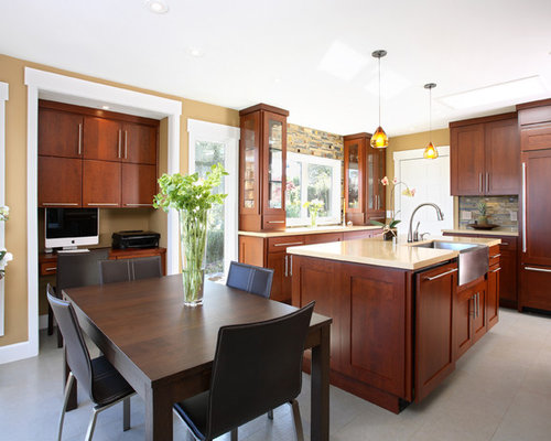 Cherry Cabinet Backsplash | Houzz