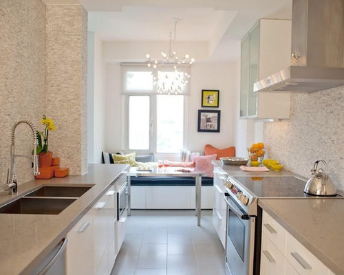 Contemporary Galley Enclosed Kitchen Idea In Toronto With Stainless Steel  Appliances, A Double Bowl