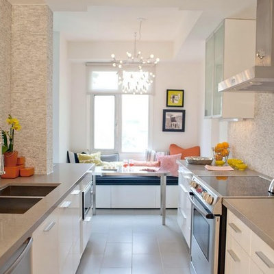 Enclosed kitchen - contemporary galley porcelain tile enclosed kitchen idea in Toronto with stainless steel appliances, a double-bowl sink, quartz countertops, flat-panel cabinets, white cabinets, gray backsplash and stone tile backsplash
