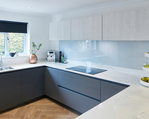 mid sized contemporary eat in kitchen designs inspiration for a mid sized - Glass Sheet Kitchen Design