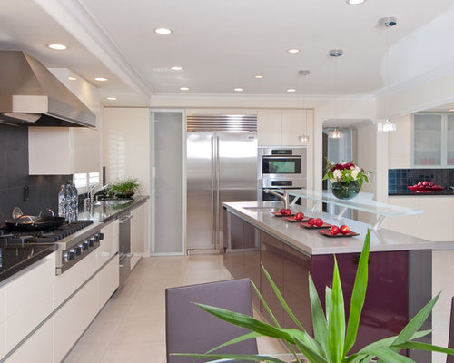 Contemporary Kitchen Idea In Other With Flat Panel Cabinets, Stainless  Steel Appliances, An