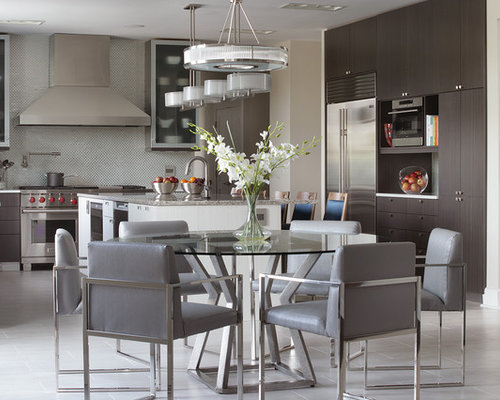 Large Contemporary Eat In Kitchen Photos   Inspiration For A Large  Contemporary L Shaped