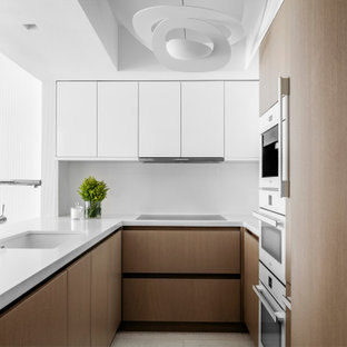 75 Beautiful Kitchen With Medium Tone Wood Cabinets And White Appliances Pictures Ideas February 2021 Houzz
