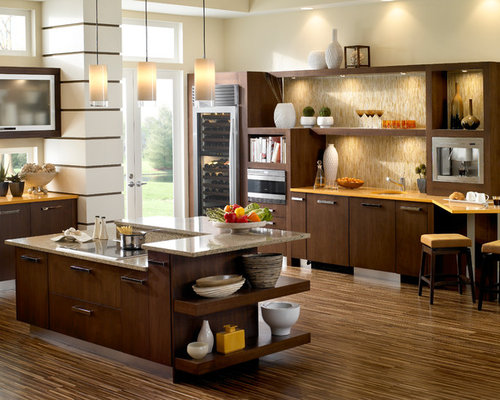 Example of a trendy kitchen design in Minneapolis with flat-panel cabinets  and dark wood - Multicolored Wood Floor Houzz