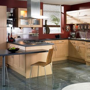 Contemporary kitchen photos - Inspiration for a contemporary kitchen remodel in Other with shaker cabinets, light wood cabinets, red backsplash and glass sheet backsplash