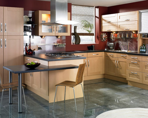 Marvelous Contemporary Kitchen Photos   Inspiration For A Contemporary Kitchen  Remodel In Other With Shaker Cabinets,