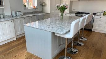 Contemporary Kitchen w/ White Double Panel Doors and Marble Quartz Worktop