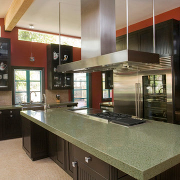 Contemporary Kitchen with Beaded Frameless Cabinets