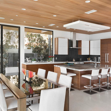 Contemporary Kitchen with Maximum Seating