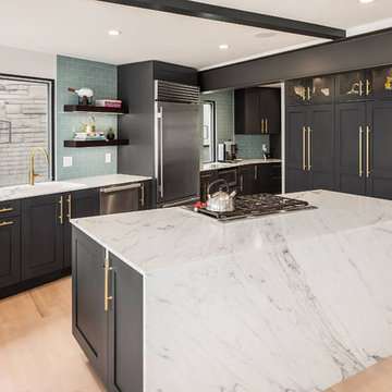 Contemporary Kitchen with White & Navy Cabinets