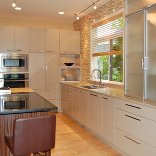 Contemporary Kitchen with White Flat Panel Cabinets