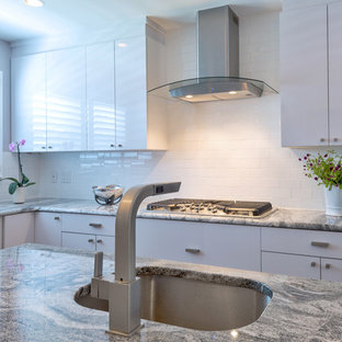 Contemporary Kitchen with white laminate doors
