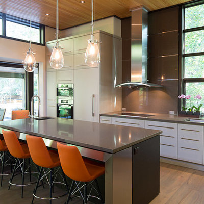 Kitchen - contemporary kitchen idea in Toronto with an undermount sink, flat-panel cabinets, white cabinets, brown backsplash and stainless steel appliances