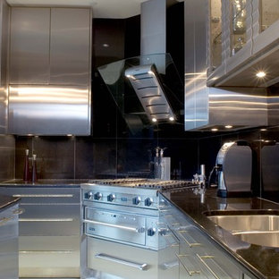 Contemporary kitchen in Charlotte with stainless steel cabinets, black splashback, a double-bowl sink, flat-panel cabinets, stainless steel benchtops and stainless steel appliances.