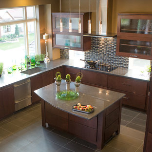 Inspiration for a large contemporary l-shaped separate kitchen in Austin with an undermount sink, flat-panel cabinets, dark wood cabinets, limestone benchtops, multi-coloured splashback, mosaic tile splashback, stainless steel appliances, laminate floors, with island, grey floor and grey benchtop.