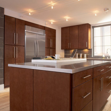 Contemporary Lausanne Slab Cabinets and Island Kitchen