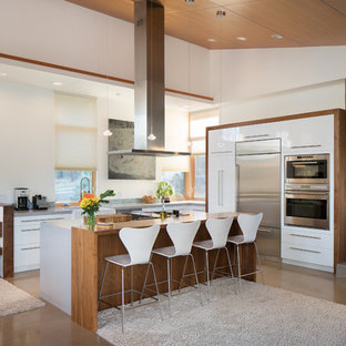 Mid-sized contemporary open concept kitchen pictures - Inspiration for a mid-sized contemporary l-shaped concrete floor open concept kitchen remodel in Phoenix with flat-panel cabinets, white cabinets, quartzite countertops, gray backsplash, stainless steel appliances and an island