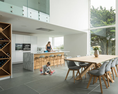 This Is An Example Of A Large Contemporary Kitchen/diner In Cornwall With  Flat