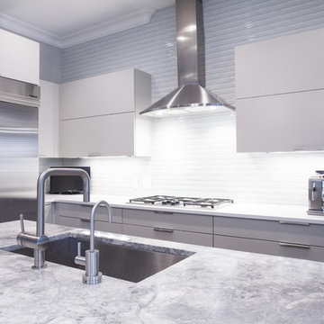 Contemporary Painted Grey Kitchen with High Gloss Island