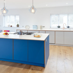 Contemporary plywood kitchen with Fenix finish and Bora hob