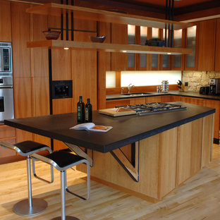 Inspiration for a contemporary kitchen remodel in Minneapolis with stainless steel appliances