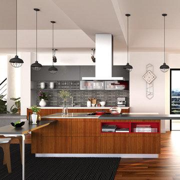 Contemporary PVC & Lacquer Kitchen Cabinet OP15-PVC02
